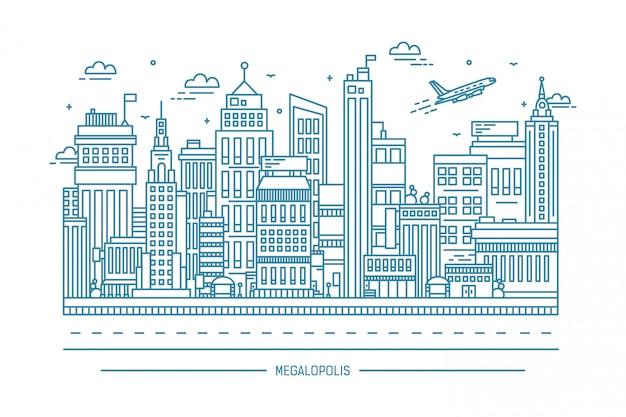 Megalopolis, życie w wielkim mieście, ilustracja kontur sztuki linii