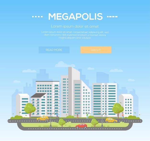 Megapolis - nowoczesne ilustracji wektorowych z miejscem na tekst na jasnoniebieskim tle. ładny miejski krajobraz z drapaczami chmur, drzewami, spacerowiczami, samochodami na drodze, chmurami na niebie