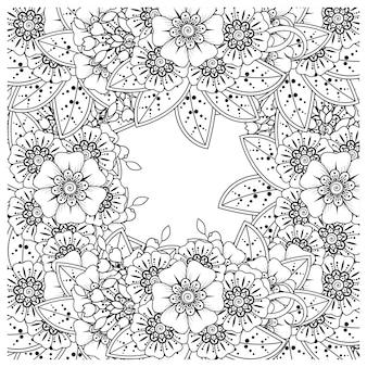 Mehndi kwiat dekoracyjny ornament w etnicznym stylu orientalnym doodle ornament zarys rysowania ręcznego
