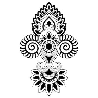 Mehndi kwiatki do rysowania henny i tatuażu. dekoracja w etnicznym orientalnym, indyjskim stylu. doodle ozdoba. zarys ręcznie rysować ilustracji wektorowych.