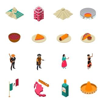 Meksyk atrakcje turystyczne kolekcja izometrycznych ikon