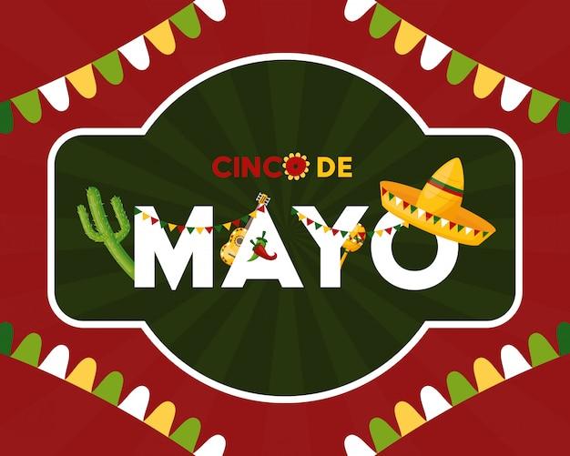 Meksyk cinco de mayo meksyk cinco de mayo w dekorowanej ilustraci