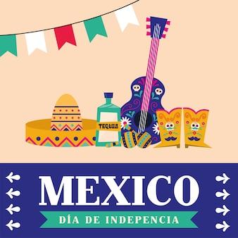 Meksyk dia de la independencia z kapeluszem tequila, gitara i buty, ilustracja wektorowa tematu kultury