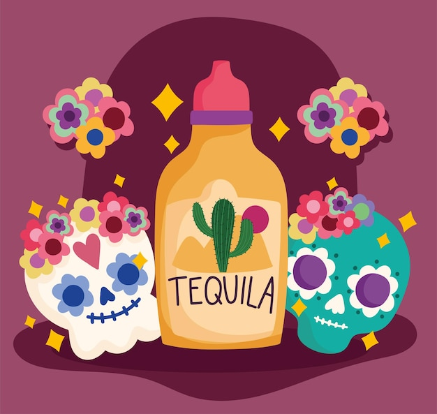 Meksyk dzień zmarłych czaszki tequili kwiaty dekoracja kultura tradycyjna ilustracja