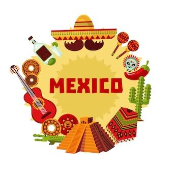 Meksyk ikony okrągłe pojęcie