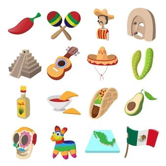 Meksyk ikony w stylu kreskówki dla sieci i urządzeń mobilnych