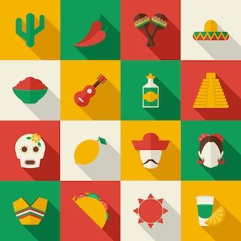 Meksyk płaski zestaw ikon