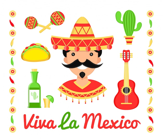 Meksyk płaskie ikony ilustracja