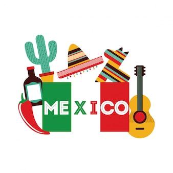Meksyk projekt nad białą tło wektoru ilustracją
