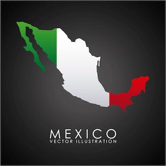 Meksyk projektuje nad czarną tło wektoru ilustracją