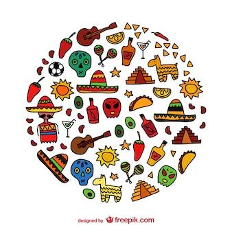 Meksyk ręcznie rysowane ikony