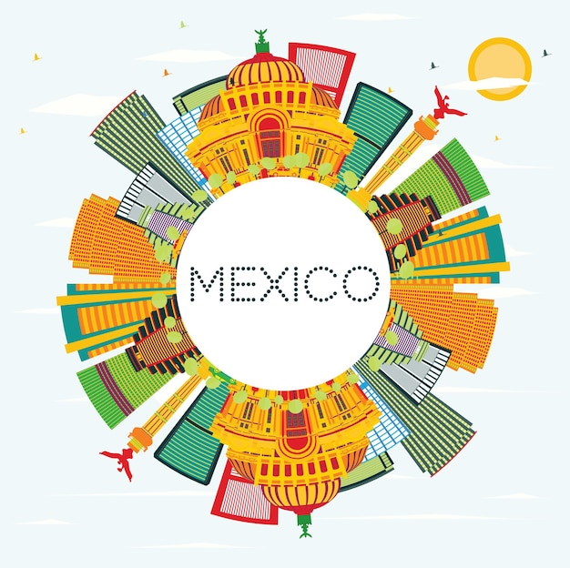 Meksyk skyline z kolorowymi budynkami, błękitnym niebem i przestrzenią do kopiowania. ilustracja wektorowa. podróże służbowe i koncepcja turystyki z zabytkową architekturą.