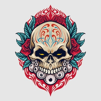 Meksyk sugar skull dia de los muertos ilustracje