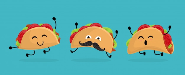 Meksyk taco w stylu cartoon