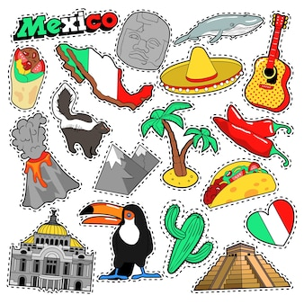Meksyk travel scrapbook stickers, patches, badges for prints with sombrero, burrito and mexican elements. doodle komiks stylu