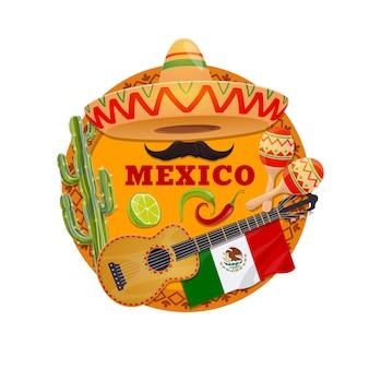Meksyk z meksykańskim kapeluszem sombrero, gitarą i marakasami, papryczkami chili lub jalapeno, kaktusem, flagą, wąsem i limonką na tle z ornamentem etnicznym. karta z pozdrowieniami z meksykańskiej fiesty