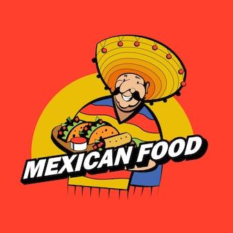 Meksykanin ubrany w strój narodowy i kapelusz trzyma tacę z tradycyjnym meksykańskim jedzeniem.