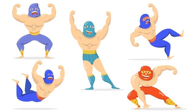 Meksykańscy wojownicy w maskach płaski zestaw przedmiotów. zapaśnicy kreskówka stojąc, pokazując mięśnie, spadając, uśmiechając się na białym tle kolekcja ilustracji wektorowych. koncepcja lucha libre i sztuk walki