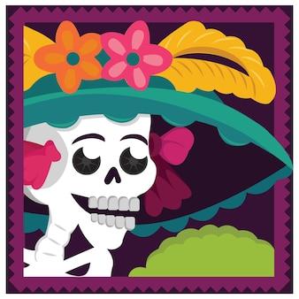 Meksykańska catrina ilustracja