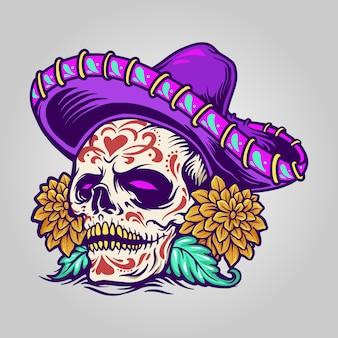 Meksykańska cukrowa czaszka dia de muertos