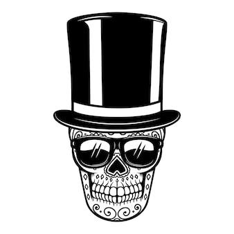 Meksykańska cukrowa czaszka w vintage kapeluszu i okularach przeciwsłonecznych. dzień śmierci.