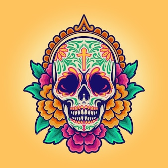 Meksykańska czaszka cinco de mayo, dia de los muertos