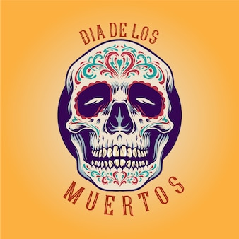 Meksykańska czaszka cukru dia de los muertos ilustracje