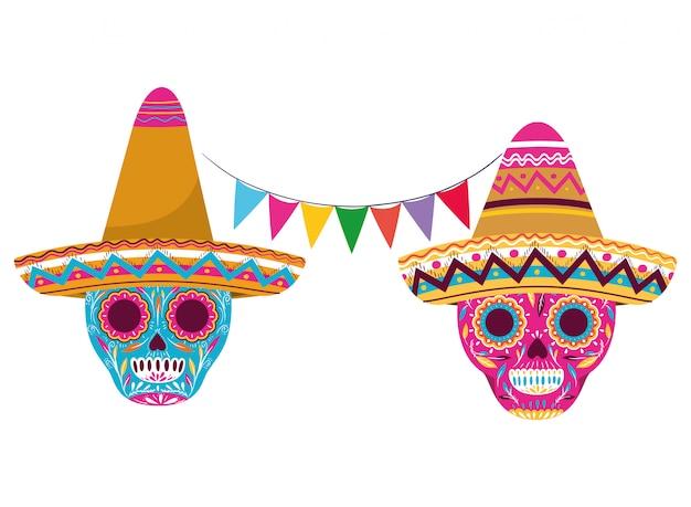 Meksykańska czaszka z kapelusz na białym tle ikona