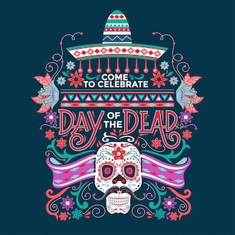Meksykańska dia de muertos oznacza dzień zmarłych z cukrową czaszką i sombrero