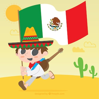 Meksykańska flaga tło z chłopcem