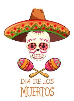 Meksykańska impreza day of the dead z dekoracjami świątecznymi