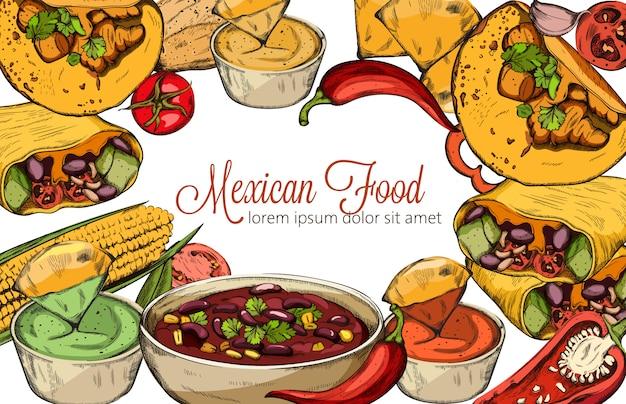 Meksykańska kompozycja graficzna z kukurydzą, ostrą papryką, taco i pikantną zupą fasolową