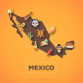 Meksykańska mapa z elementami kultury