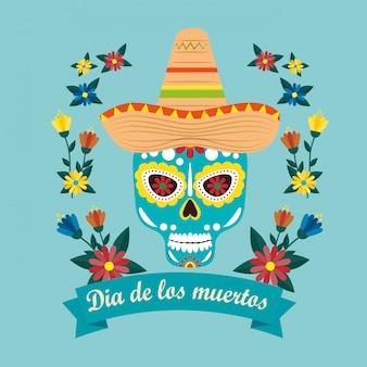 Meksykańska maska czaszki z kapeluszem z okazji imprezy