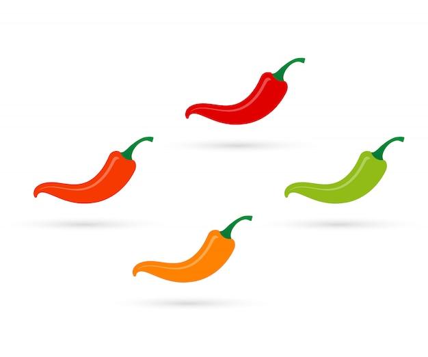 Meksykańska papryczka chili jalapeno. zestaw kolorów gorącej papryki chili.
