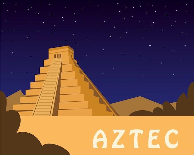 Meksykańska piramida starożytnych azteków ikona ilustracja projektu