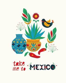 Meksykańska sztuka ludowa święto narodowe styl ludowy słoneczny meksyk ręcznie rysowane napis pocztówka koncepcja