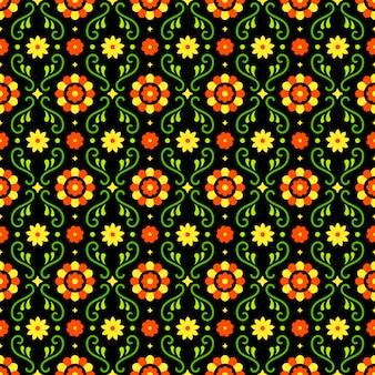 Meksykańska sztuka ludowa wzór z kwiatami na ciemnym tle. tradycyjny design na imprezę fiesta. kolorowe kwiatowe elementy ozdobne z meksyku. ornament meksykański folklor.