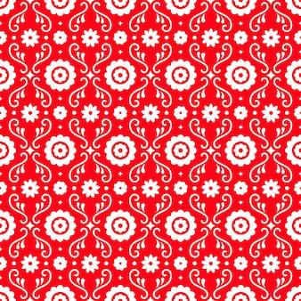 Meksykańska sztuka ludowa wzór z kwiatami na czerwonym tle. tradycyjny design na imprezę fiesta. kwiatowe elementy ozdobne z meksyku. ornament meksykański folklor.