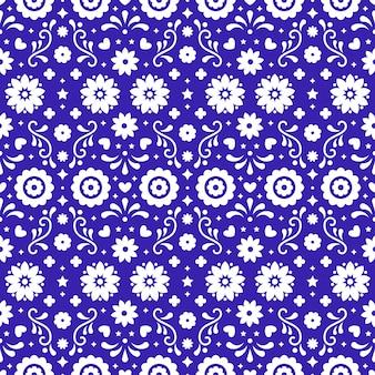 Meksykańska sztuka ludowa wzór z kwiatami