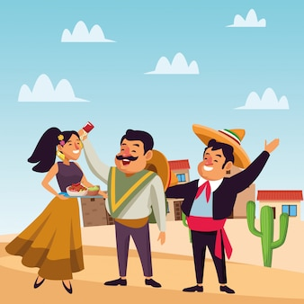 Meksykańska tradycyjna kultura ikona kreskówka