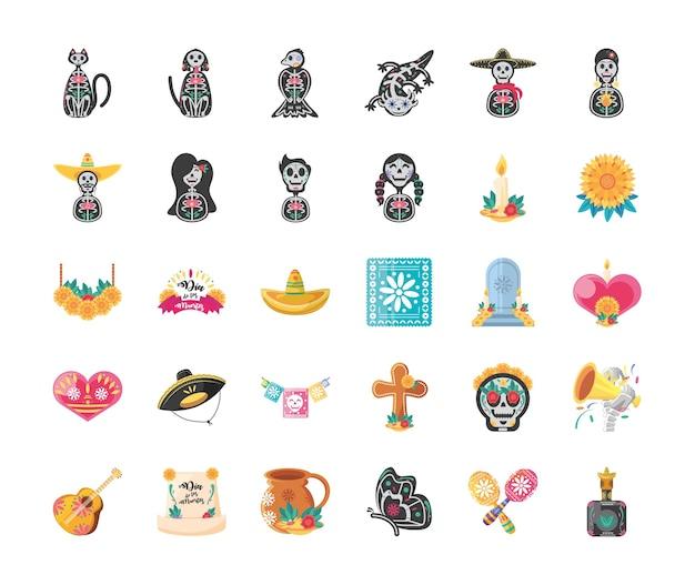 Meksykański dzień martwego szczegółowego stylu 30 zestaw ikon, kultura meksykańska