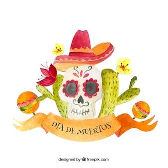 Meksykański dzień martwego tła czaszki