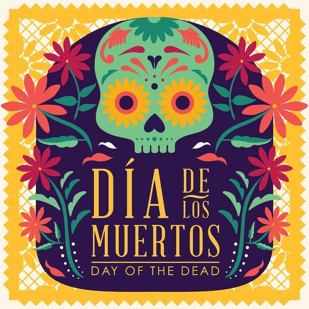 Meksykański dzień martwych kwiatów czaszki cukru