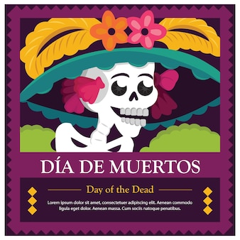 Meksykański dzień zmarłych catrina - skopiuj szablon miejsca