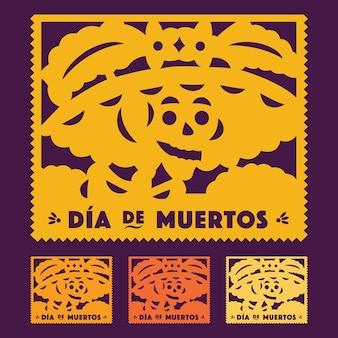 Meksykański dzień zmarłych catrina - wycięty zestaw papieru