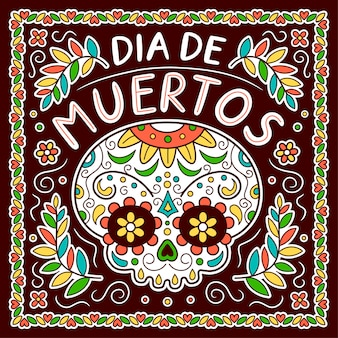 Meksykański dzień zmarłych, koncepcja dia de muertos. wektor ikona ilustracja kreskówka płaska linia postać. projekt plakatu meksykańskiego dia de muertos