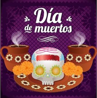 Meksykański dzień zmarłych skład czaszki cukru