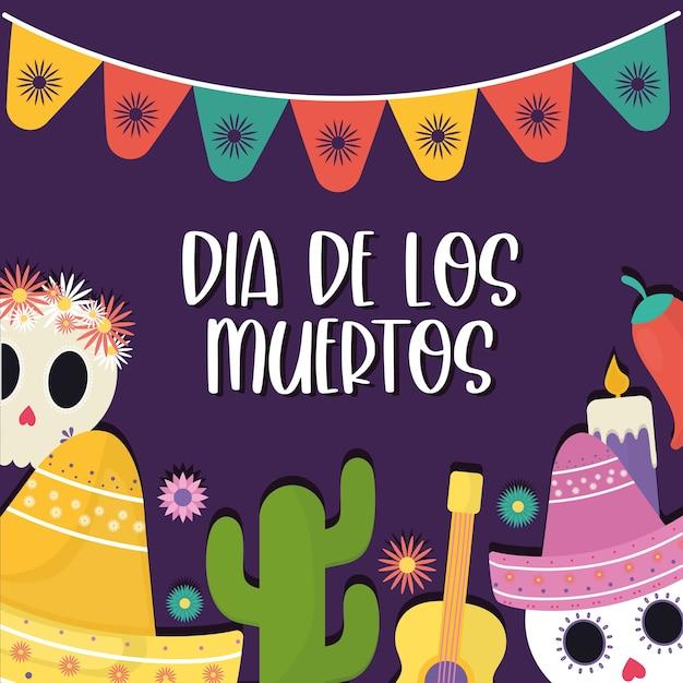 Meksykański dzień zmarłych zestaw ikon z proporczykiem banner, motyw kultury meksykańskiej.