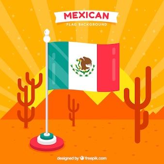 Meksykański flaga tło z pustynnym landspace